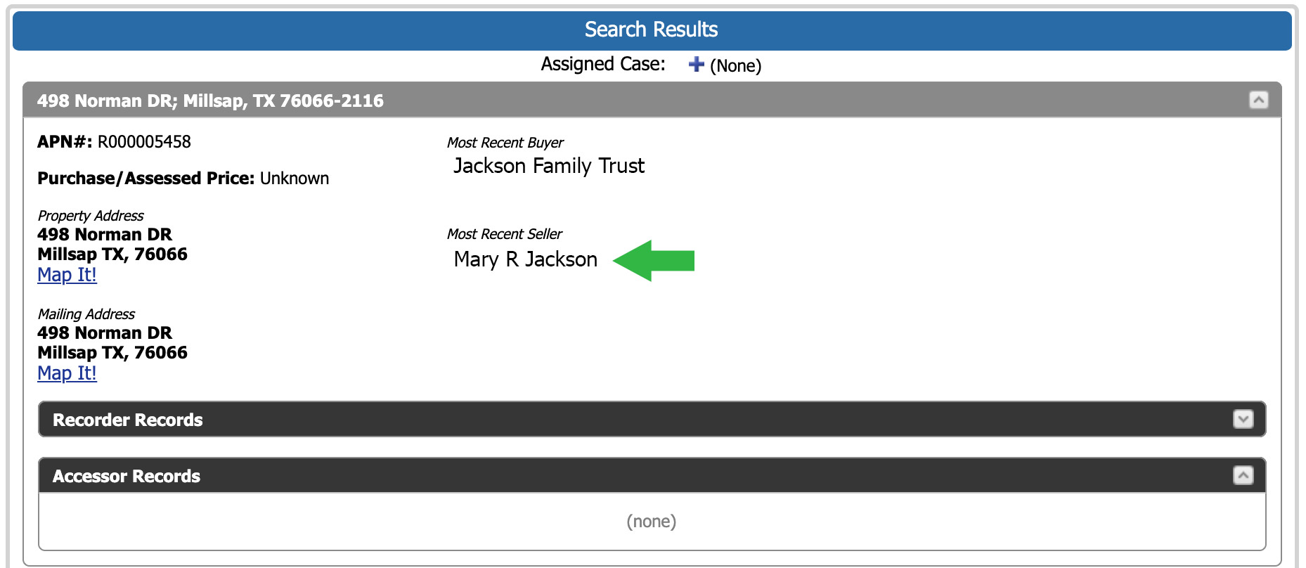 Locate a family trust property search results